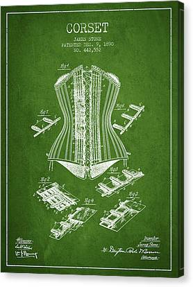 Corset Patent From 1890 - Green Canvas Print by Aged Pixel