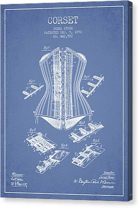 Corset Patent From 1890 - Light Blue Canvas Print by Aged Pixel