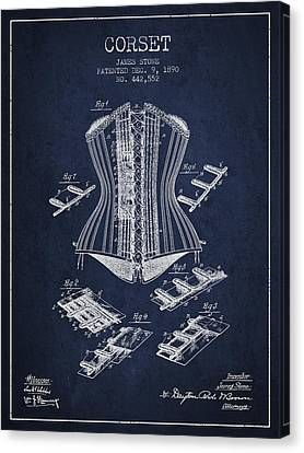 Corset Patent From 1890 - Navy Blue Canvas Print by Aged Pixel