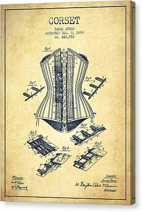 Corset Patent From 1890 - Vintage Canvas Print by Aged Pixel