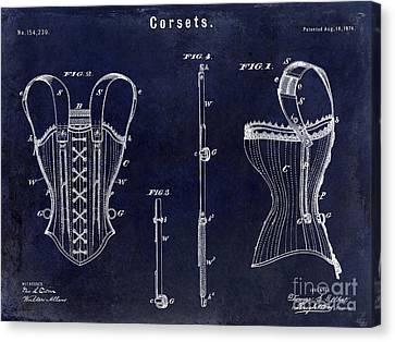 1874 Corsets Patent Blue Canvas Print by Jon Neidert
