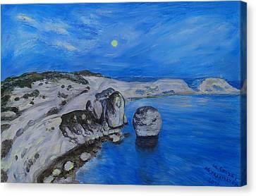 Corsica Bonifaccio Evening Canvas Print by Agnieszka Praxmayer
