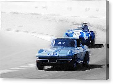 Corvette And Ac Cobra Shelby Watercolor Canvas Print by Naxart Studio