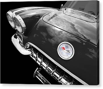 Antique Automobiles Canvas Print - Corvette C1 1958 In Black And White by Gill Billington