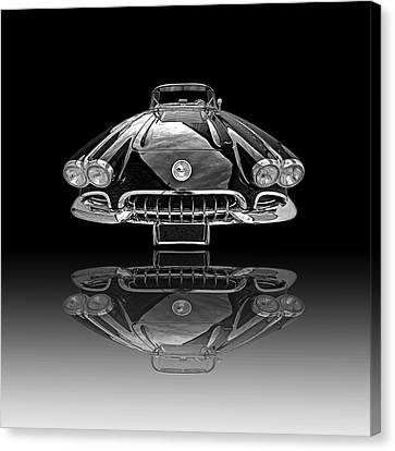 Corvette C1 Reflection On Black Canvas Print by Gill Billington