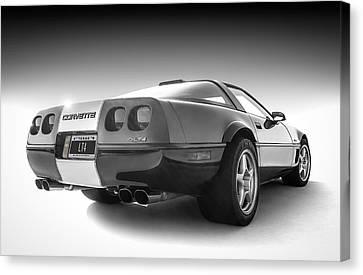 White Chevy Canvas Print - Corvette C4 by Douglas Pittman