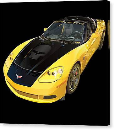 corvette C6 on black Canvas Print