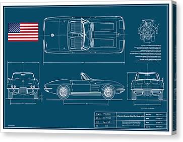Corvette Convertible Blueplanprint Canvas Print by Douglas Switzer