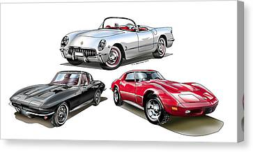 Canvas Print featuring the digital art Corvette Generation by Thomas J Herring