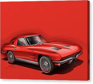 Corvette Stingray Canvas Print - Corvette Sting Ray 1963 Red by Etienne Carignan