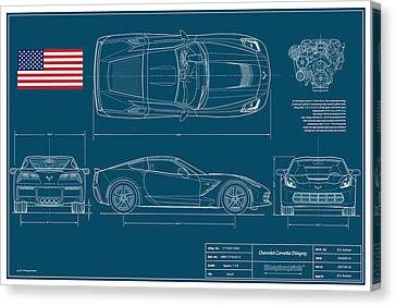 U-2 Canvas Print - Corvette Stingray Blueplanprint by Douglas Switzer