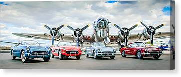 B17 Canvas Print - Corvettes With B17 Bomber by Jill Reger