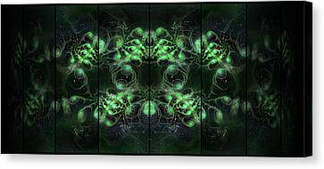 Cosmic Alien Eyes Green Canvas Print