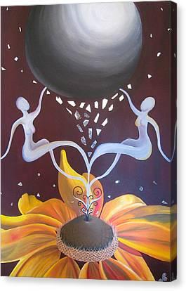 Cosmic Bloom Canvas Print by Jen Santa
