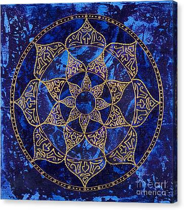 Cosmic Blue Lotus Canvas Print by Charlotte Backman