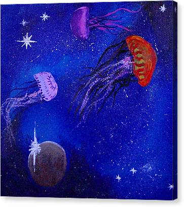 Cosmic Jellyfish  Canvas Print by Andy Lawless