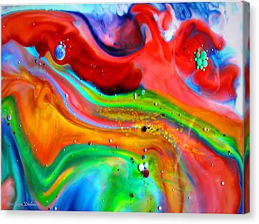 Canvas Print featuring the painting Cosmic Lights by Joyce Dickens