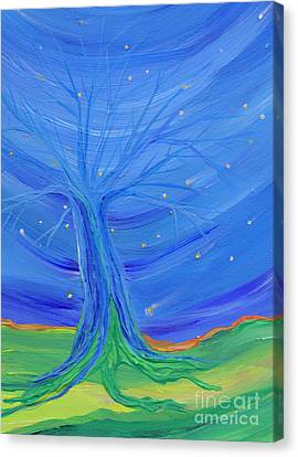 Canvas Print featuring the painting Cosmic Tree by First Star Art