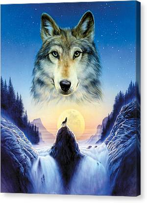 Cosmic Wolf Canvas Print by Andrew Farley