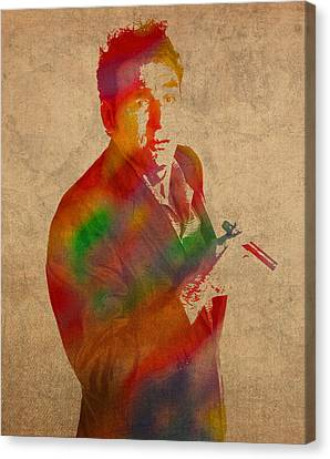 Cosmo Kramer Seinfeld Watercolor Portrait On Worn Canvas Canvas Print by Design Turnpike