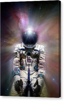 Cosmonaut In Space Canvas Print by Detlev Van Ravenswaay