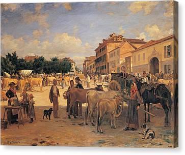 Cosola Demetrio, Chivasso Market, 1880 Canvas Print by Everett