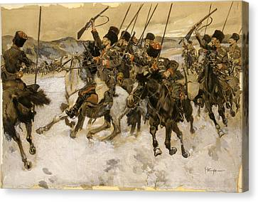 Cossacks Attacking A Train Canvas Print by Granger