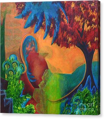 Canvas Print featuring the painting Costa Mango by Elizabeth Fontaine-Barr