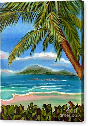 Canvas Print featuring the painting Costa Rica Highs   Costa Rica Seascape Mountains And Palm Trees by Shelia Kempf