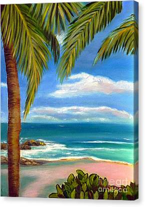 Canvas Print featuring the painting Costa Rica Rocks   Costa Rica Seascape  by Shelia Kempf