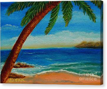 Canvas Print featuring the painting Costa Rican Palm by Shelia Kempf