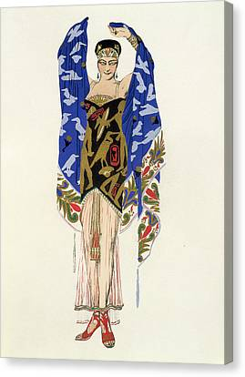 Costume Design For A Dancing Girl Canvas Print by Leon Bakst
