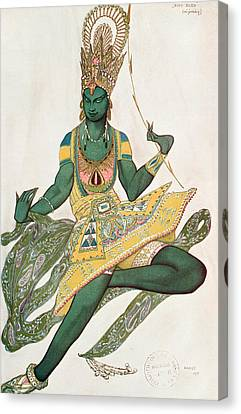 Costume Design For Nijinsky 1889-1950 For His Role As The Blue God, 1911 Wc On Paper Canvas Print by Leon Bakst