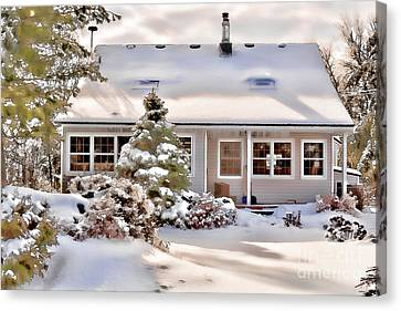 Cosy In Winter Canvas Print by Louise Heusinkveld