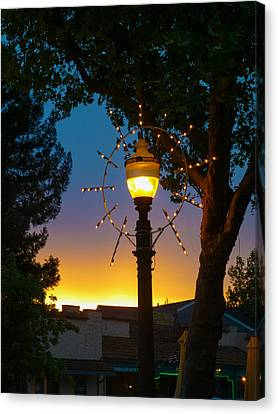 Canvas Print featuring the photograph Cotati Lights by Jan Davies