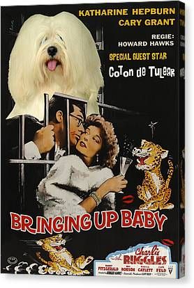 Coton De Tulear Art Canvas Print - Bringing Up Baby Movie Poster Canvas Print by Sandra Sij