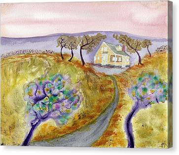 Cottage By The Purple Trees Canvas Print