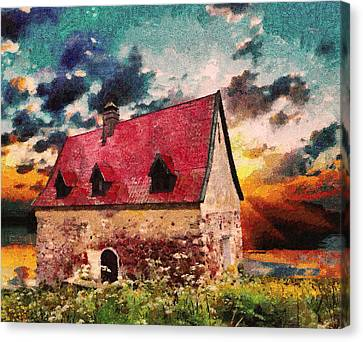 Cottage By The Sea - Abstract Realism Canvas Print