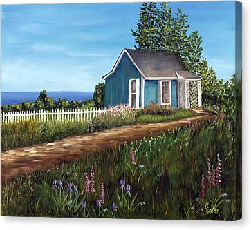 Cottage By The Sea Canvas Print by Helen Eaton