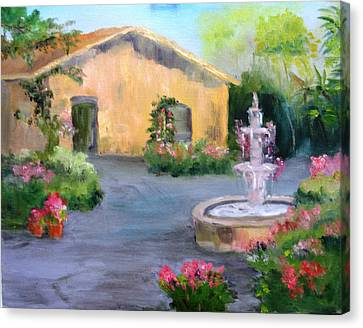 Cottage Courtyard Canvas Print