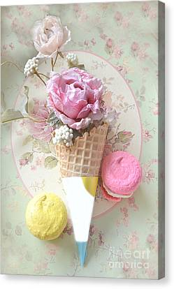Shabby Chic Floral Pink Yellow Macarons Waffle Cone Floral Food Kitchen Art Canvas Print by Kathy Fornal