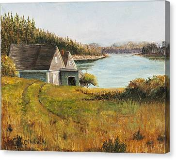 Canvas Print featuring the painting Cottage Glow by Cindy Plutnicki
