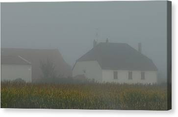 Cottage In Mist Canvas Print