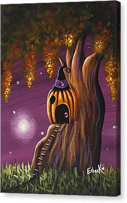 Cottage In The Woods Original Pumpkin Artwork Canvas Print by Shawna Erback