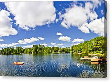 Cottage Lake With Diving Platform And Dock Canvas Print