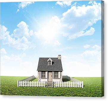 Cottage On Green Lawn Canvas Print by Allan Swart