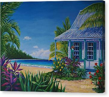 Hibiscus Canvas Print - Cottage On The Beach  17x23 by John Clark