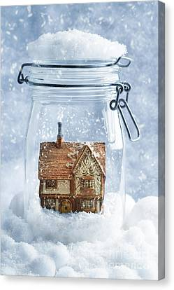 Cottage Snowglobe Canvas Print by Amanda Elwell