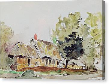 Cottage Under Large Trees In Summer Canvas Print by Ferdinand Victor Eugene Delacroix