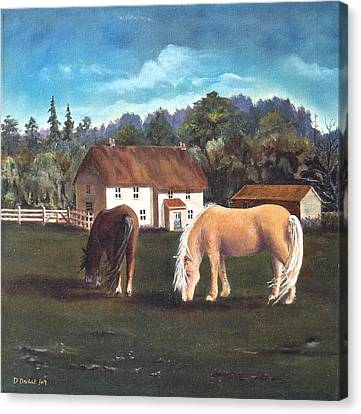 Canvas Print featuring the painting Cottage With Shetland Ponies by Diane Daigle